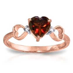 ALARRI 0.96 CTW 14K Solid Rose Gold Tri Heart Garnet Diamond Ring