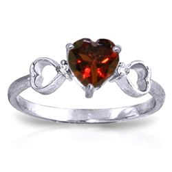 ALARRI 0.96 Carat 14K Solid White Gold Communication Garnet Diamond Ring