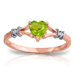 ALARRI 0.47 Carat 14K Solid Rose Gold Heartfelt Peridot Diamond Ring