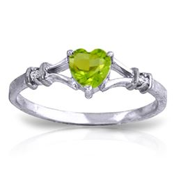 ALARRI 0.47 Carat 14K Solid White Gold Integral Part Peridot Diamond Ring