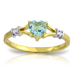 ALARRI 0.47 Carat 14K Solid Gold Justified Blue Topaz Diamond Ring