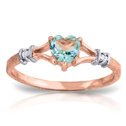 ALARRI 0.47 Carat 14K Solid Rose Gold Hearfelt Blue Topaz Diamond Ring