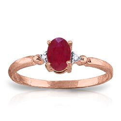 ALARRI 0.51 CTW 14K Solid Rose Gold Ring Natural Diamond Ruby