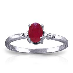 ALARRI 0.51 Carat 14K Solid White Gold Ring Natural Diamond Ruby