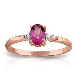 ALARRI 0.46 Carat 14K Solid Rose Gold Ring Natural Diamond Pink Topaz