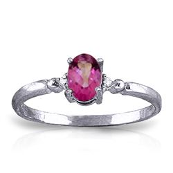 ALARRI 0.46 Carat 14K Solid White Gold Ring Natural Diamond Pink Topaz