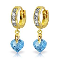 ALARRI 1.77 Carat 14K Solid Gold Monaco Blue Topaz Diamond Earrings