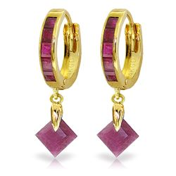 ALARRI 3.7 Carat 14K Solid Gold Hoop Earrings Dangling Ruby