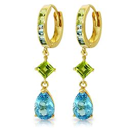ALARRI 5.37 CTW 14K Solid Gold Huggie Earrings Peridot Blue Topaz