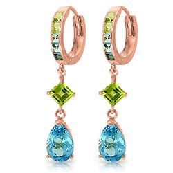 ALARRI 5.37 CTW 14K Solid Rose Gold Huggie Earrings Peridot Blue Topaz