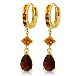 ALARRI 5.15 Carat 14K Solid Gold Huggie Earrings Dangling Garnet Citrine