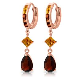 ALARRI 5.15 Carat 14K Solid Rose Gold Huggie Earrings Dangling Garnet Citrine