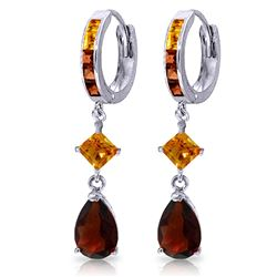 ALARRI 5.15 Carat 14K Solid White Gold Huggie Earrings Dangling Garnet Citrine