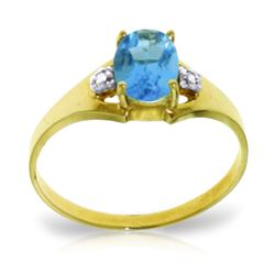ALARRI 0.76 Carat 14K Solid Gold Waverly Blue Topaz Diamond Ring