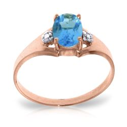 ALARRI 0.76 Carat 14K Solid Rose Gold Brilliance Blue Topaz Diamond Ring