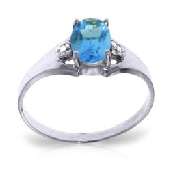 ALARRI 0.76 CTW 14K Solid White Gold Regulated Heartbeat Blue Topaz Diamond Ring