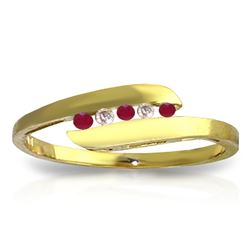 ALARRI 0.25 Carat 14K Solid Gold Ring Channel Set Diamond Ruby