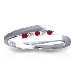 ALARRI 0.25 CTW 14K Solid White Gold Ring Channel Set Diamond Ruby