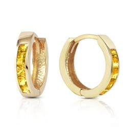 ALARRI 0.7 CTW 14K Solid Gold Hoop Huggie Earrings Citrine