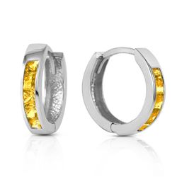 ALARRI 0.7 CTW 14K Solid White Gold Hoop Huggie Earrings Citrine