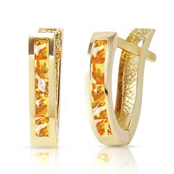 ALARRI 0.7 Carat 14K Solid Gold Oval Huggie Earrings Citrine