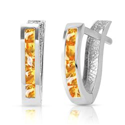 ALARRI 0.7 CTW 14K Solid White Gold Oval Huggie Earrings Citrine