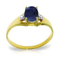 ALARRI 1.26 Carat 14K Solid Gold Ring Natural Diamond Sapphire