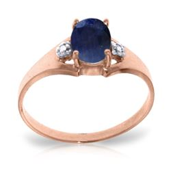 ALARRI 1.26 Carat 14K Solid Rose Gold Ring Natural Diamond Sapphire