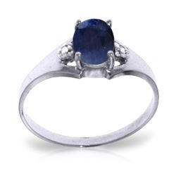ALARRI 1.26 Carat 14K Solid White Gold Ring Natural Diamond Sapphire