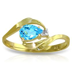 ALARRI 0.41 Carat 14K Solid Gold Confidence Is Key Blue Topaz Diamond Ring