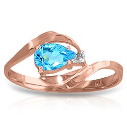 ALARRI 14K Solid Rose Gold Ring w/ Natural Diamond & Blue Topaz