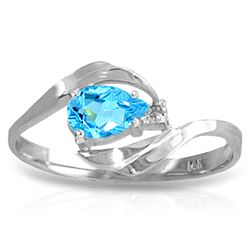 ALARRI 0.41 Carat 14K Solid White Gold Fantasies Come True Blue Topaz Diamond Ring