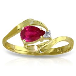 ALARRI 0.51 Carat 14K Solid Gold Ruby Heat Ruby Diamond Ring