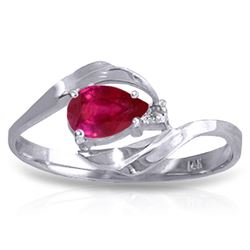 ALARRI 0.51 Carat 14K Solid White Gold Love Sees Ruby Diamond Ring