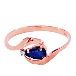 ALARRI 0.51 Carat 14K Solid Rose Gold Waves Sapphire Diamond Ring