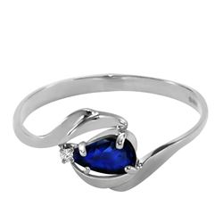 ALARRI 0.51 CTW 14K Solid White Gold Shower Music Sapphire Diamond Ring