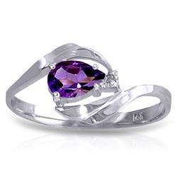ALARRI 0.41 Carat 14K Solid White Gold Unbeatable Amethyst Diamond Ring