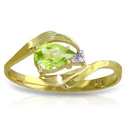 ALARRI 0.41 Carat 14K Solid Gold Indulge In Passion Peridot Diamond Ring