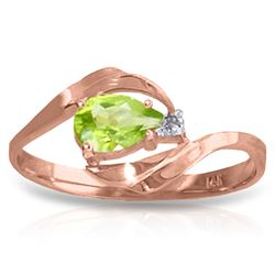 ALARRI 0.41 Carat 14K Solid Rose Gold Waves Peridot Diamond Ring