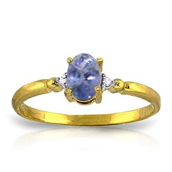 ALARRI 0.46 Carat 14K Solid Gold Ring Natural Diamond Tanzanite
