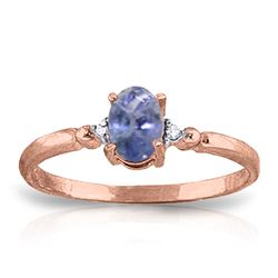 ALARRI 0.46 Carat 14K Solid Rose Gold Ring Natural Diamond Tanzanite
