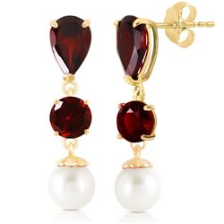 ALARRI 10.5 Carat 14K Solid Gold Chandelier Earrings Garnet Pearl