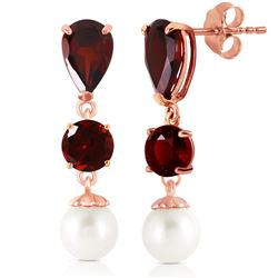 ALARRI 10.5 CTW 14K Solid Rose Gold Chandelier Earrings Garnet Pearl