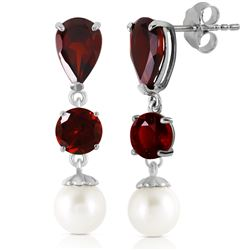 ALARRI 10.5 CTW 14K Solid White Gold Chandelier Earrings Garnet Pearl