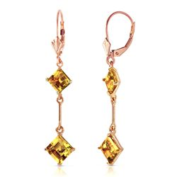 ALARRI 14K Solid Rose Gold Leverback Earrings w/ Citrines