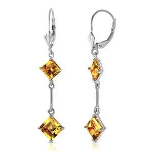 ALARRI 14K Solid White Gold Leverback Earrings w/ Citrines