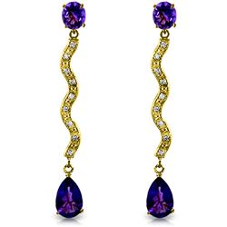 ALARRI 4.35 CTW 14K Solid Gold Earrings Diamond Amethyst