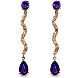ALARRI 14K Solid Rose Gold Earrings w/ Diamonds & Amethysts