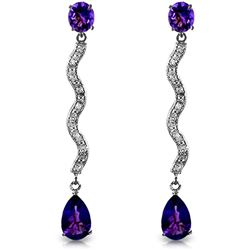 ALARRI 14K Solid White Gold Earrings w/ Diamonds & Amethysts