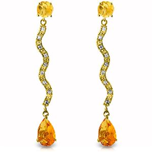 ALARRI 4.35 Carat 14K Solid Gold Earrings Diamond Citrine